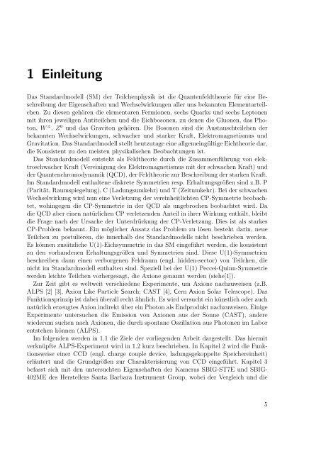 Untersuchungen an CCDs mit Hinblick auf das ALPS-Experiment
