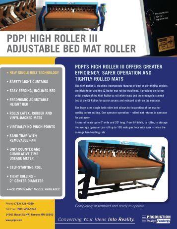 PDPI HIGH ROLLER III ADJUSTABLE BED MAT ... - PDPI Solutions