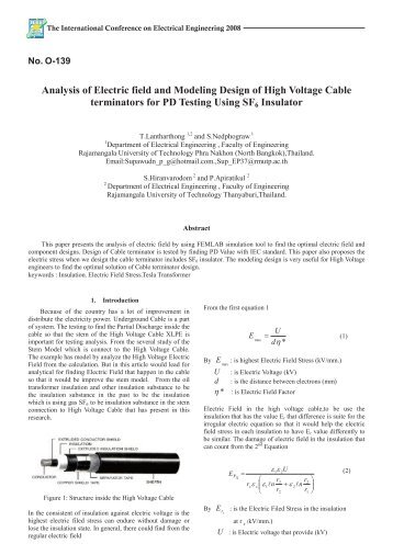 Analysis of Electric field and Modeling Design of High Voltage Cable ...