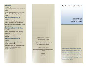Junior High lesson plan brochure [pdf] - Art Gallery of Nova Scotia