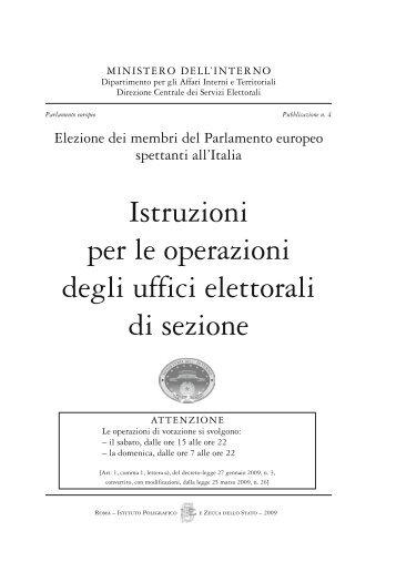 istruzioni per le operazioni degli uffici elettorali - Ministero Dell'Interno