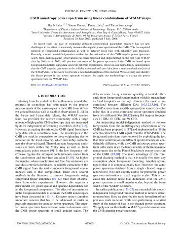 CMB anisotropy power spectrum using linear combinations ... - iucaa