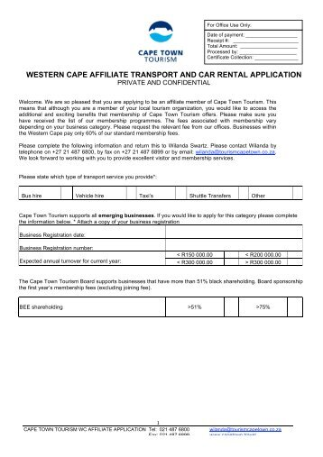 western cape affiliate transport and car rental application