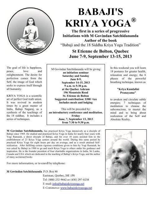 Download Pdf Program Babaji S Kriya Yoga