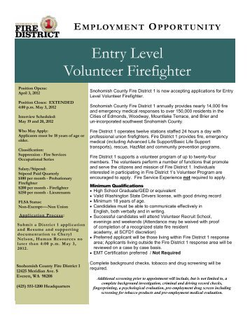 Volunteer Firefighter 2012 - Snohomish County Fire District 1