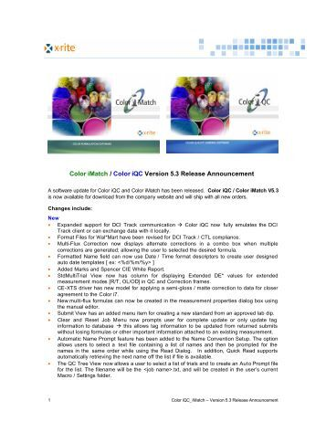 Color iQC Software  XRite