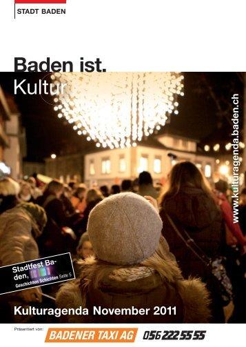 Kulturagenda November 2011 - Veranstaltungen - Stadt Baden