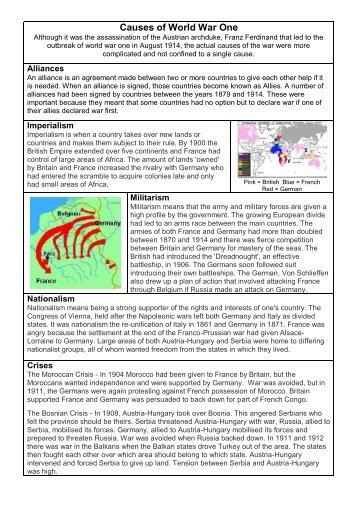 WWI MAIN Causes Worksheet