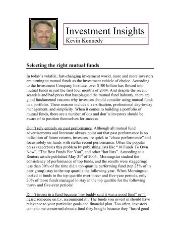 June 4, 2004 Investing in Mutual Funds - Kevin Kennedy LLC