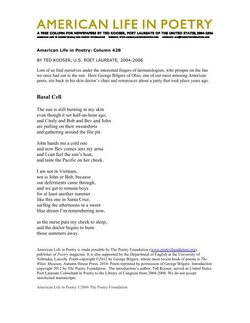 Basal Cell - American Life in Poetry