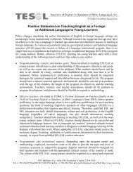 Position Statement on Teaching English as a Foreign or ... - TESOL