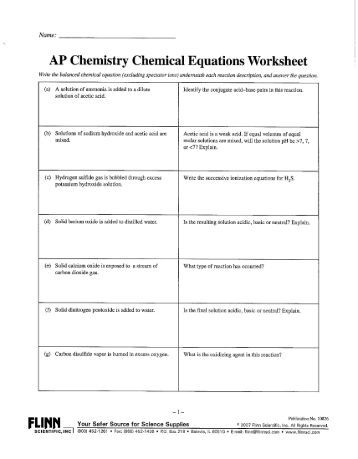 Chemical Formulas and Equations Worksheet Write the chemical ...