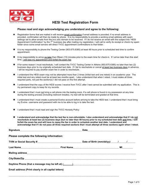 HESI Test Registration Form Trinity Valley Community College