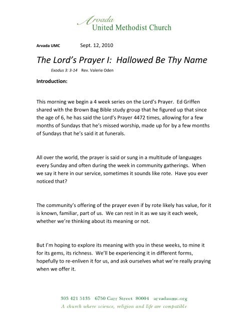The Lord's Prayer I: Hallowed Be Thy Name