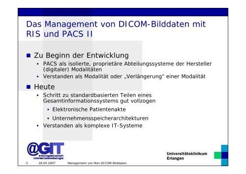 Management von Non-DICOM- Bilddaten