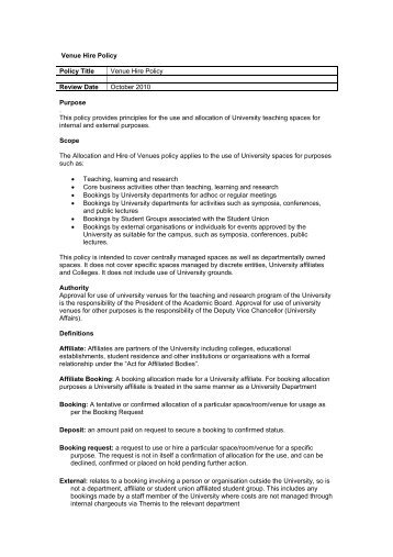 Venue Hire Policy - Student Services - University of Melbourne