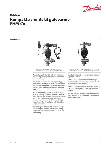 Kompakte shunts til gulvvarme Fhm-Cx - Danfoss Varme
