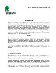 Guidelines for Suppliers - Resolute Forest Products