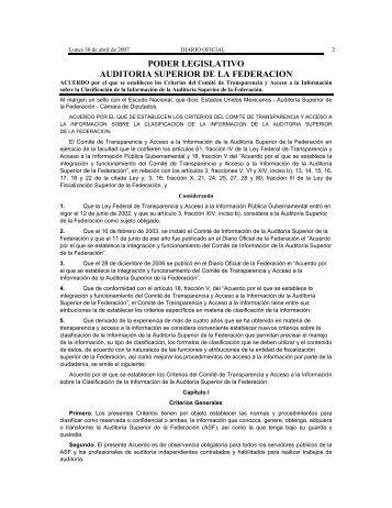 ACUERDO por el que se establecen los Criterios del Comité de ...