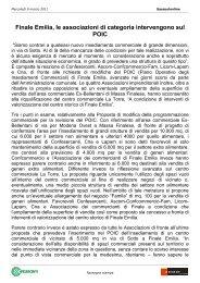 Finale Emilia, le associazioni di categoria intervengono sul POIC