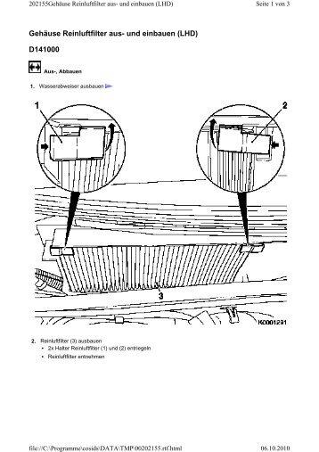 Gehäuse Reinluftfilter aus- und einbauen (LHD) D141000
