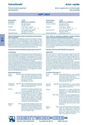 D 20 Schnellstahl Acier rapide ASP® 2023 - Hertsch & Cie AG