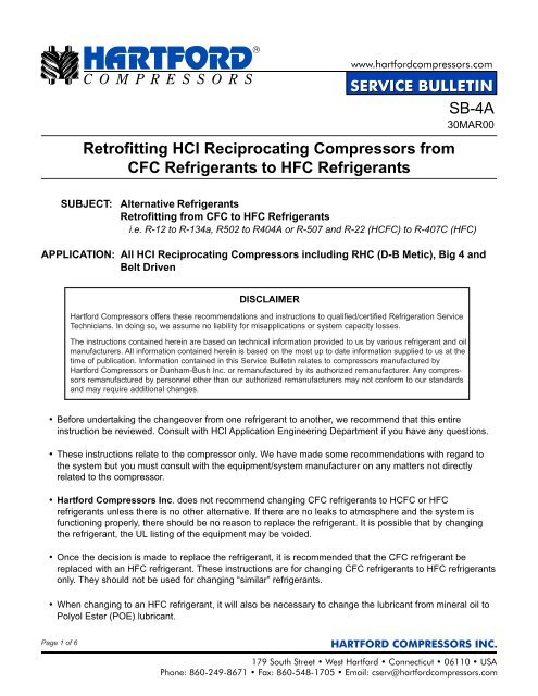 Retrofitting HCI Reciprocating Compressors from CFC