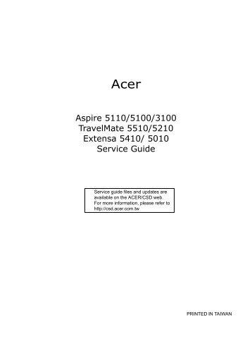 Acer Aspire 5110 / 5100 / 3100 / TravelMate 5510 / 5210 / Extens ...