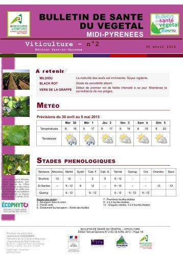 Etat g n ral de la vigne chambre d 39 agriculture des for Chambre agriculture tarn et garonne