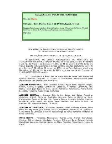 ministério da agricultura, pecuária e abastecimento ... - CDA