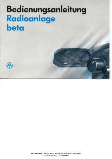 Bedienungsanleitung Radioanlage beta - VW Westfalia LT Camper ...