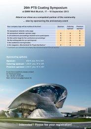Sponsor information - PTS - Coating Symposium