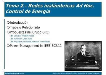 Tema 2.- Redes inalámbricas Ad Hoc. Control de Energía
