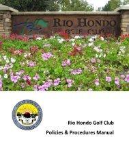 Rio Hondo Golf Club Policies & Procedures Manual - City of Downey