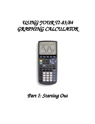TI 83-84 CALC--STARTING OUT