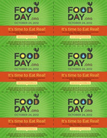Food Day Recipe Cards