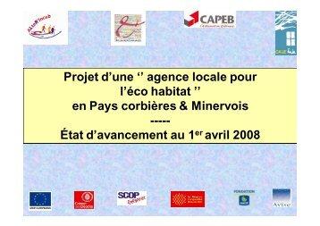 Projet d'agence locale en éco-construction au 1er avril