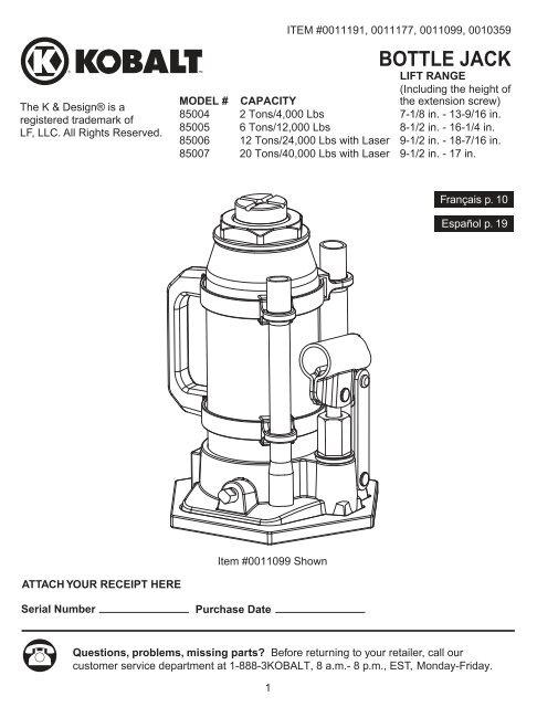 Kobalt 20 Ton Bottle Jack Manual Best Pictures And