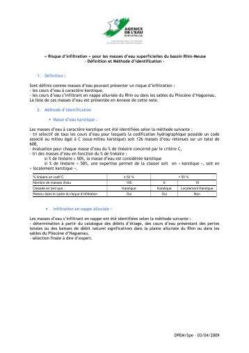 Liste des masses d'eau superficielles du bassin Rhin-Meuse à ...