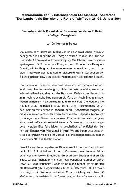"""Memorandum """"Das unterschätzte Potential der ... - Hermann Scheer"""