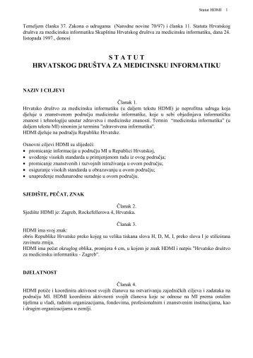 Statut Hrvatskog društva za medicinsku informatiku