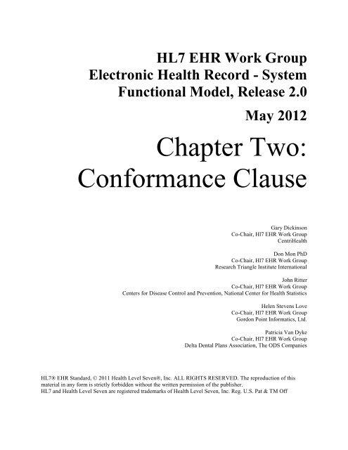 Draft Outline Conformance Clause - HL7 Wiki