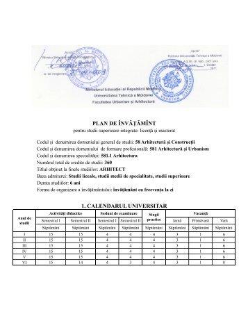 581.1 Arhitectura - Universitatea Tehnică a Moldovei