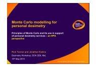 Monte Carlo modelling for personal dosimetry - SCK•CEN