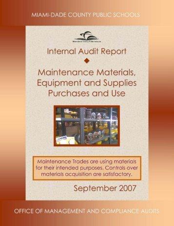 11. Audit of Maintenance Materials, Equipment and - Dadeschools.net
