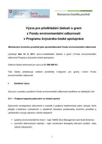 Výzva pro předkládání žádostí o grant z Fondu environmentální ...