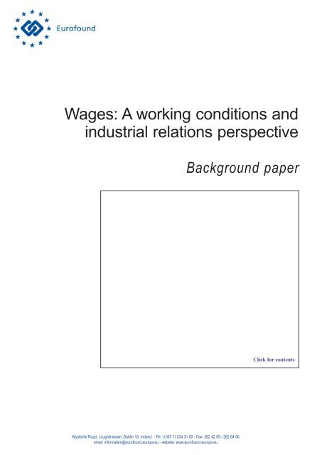 Wages: A working conditions and industrial relations ... - Eurofound
