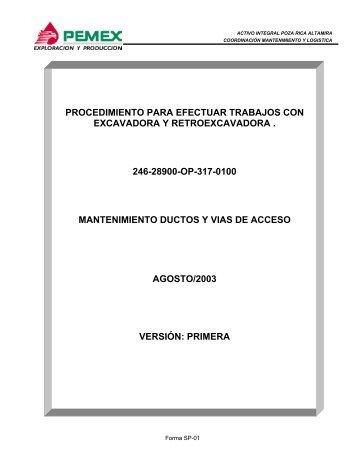 procedimiento para efectuar trabajos con excavadora y ...