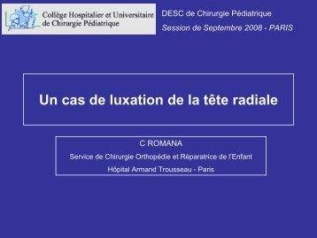 Dossier de luxation dela tête radiale - C ROMANA - SOFOP
