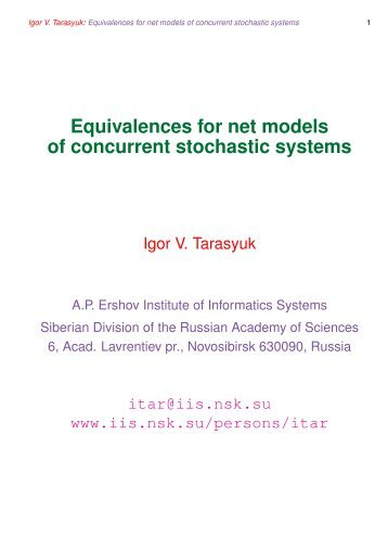 Equivalences for net models of concurrent stochastic systems